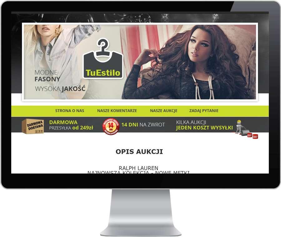 4954bd76a0 Szablon aukcji wykonany na potrzeby sprzedaży odzieży damskiej na aukcjach  Allegro dla firmy Tuestilo. Szbalon wyposażony w aktywny podział na  kategorie ...